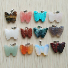Assorted Natural Stone Carved Butterfly Charms Pendants 12pcs/lot Wholesale