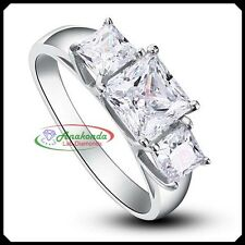 1.80Ct Synthetic DIAMOND Lab Grown Man Made Silver 925 Wedding Three-stone Ring