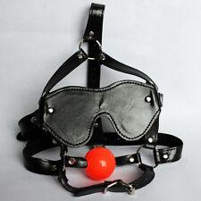 PU Leather soft Mouth Ball Gag Blindfold Eye patch Mask Head Harness Bondage
