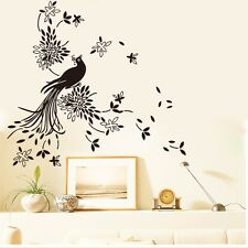 Peacock Flowers Removable Wall Stickers Vinyl Wall Decals Kids Room Home Decor