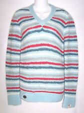 G-STAR RAW~BLUE STRIPE MOHAIR~V-NECK SWEATER TOP~LONG SLEEVE~WOMENS SZ MEDIUM/M