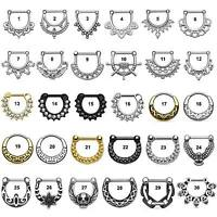 Surgical Steel Septum Clicker Nose Daith Rings Hanger - 1.6mm