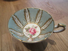 Paragon Cabinet CUP only Green  Lots of Gold  feathers Rose center E176C
