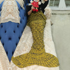 Mermaid Tail Handmade Crocheted Cocoon Quilt Rug Knit Lapghan Super Soft Blanket