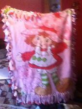Handmade Tie Blanket Fleece Pink Strawberry Shortcake 42 x 48 COZY SOFT