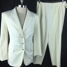 Talbots Woman Pants Suit 14W Blazer Ivory Jacket 14 Wool Italy Off White Work SS