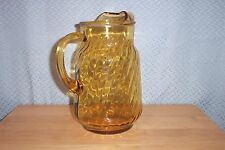 84 oz LIGHT AMBER ICE LIP PITCHER SWIRL OPTIC PATTERN