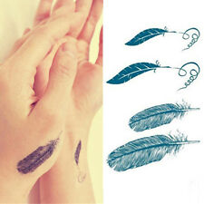 2x Feather Tattoo Sticker Waterproof Temporary Removable Body Art Tattoo