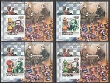 """ Togo, 2011 issue. Chess Players on 4 values as Deluxe s/sheets."