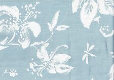 Braemore Fabric  Blue White Flowers  Cotton Slubby Basket  Look  Drapery