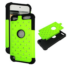 Neon Lime green for IPod Touch 5 Hybrid 2 in 1 Rhinestone silicon  Cover Case  z