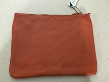 COLE HAAN Large Zip Leather Pouch - 13 x 10 - Orange - NEW