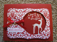 Merry Christmas Eloquent Reindeer Dasher Handmade Card Kit lot w/Stampin Up 4