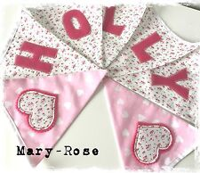 Baby Girl Personalised Name BUNTING/BANNER Vintage Ditsy Florals. Pink, Hearts
