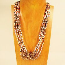 "22"" White Multi Color Multi Strand Handmade Coco Wood Seed Bead Necklace"