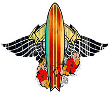Car Window Bumper Sticker - Hawaiian Art Decal - Surf Board Tribute