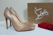 sz 5 / 35 Christian Louboutin Bareta Nude Leather Spike Toe 100 Heel Pump Shoes