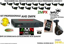 KIT VIDEOSORVEGLIANZA AHD DVR 1080P 16 CANALI 16 TELECAMERE ARRAY 2MP IP CLOUD