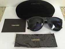 New Auth Tom Ford Kurt TF347 Dark Gray Blue Lens Oval Sunglasses $420 w/ Case