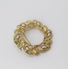 Jones New York Brooch, Gold-Tone Imitation Pearl and Crystal Wreath Pin