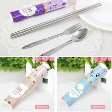 3 in 1 Hard Case Tableware Set Fork Spoon Folded Chopsticks + Cartoon Case M95