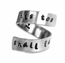 This Too Shall Pass Dandelion Fluffs Inside Hand Stamped Aluminum Spiral Ring