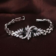 18k White Gold Filled Elegant Crystal Swarovski Bangle Chian Bracelet