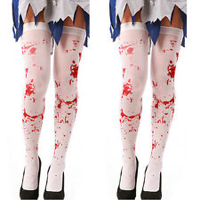White Bloody Stockings Blood Stained Socks Halloween Props Fancy Dress Costume