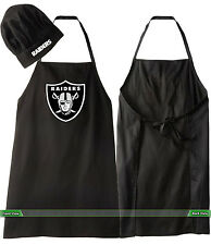 OAKLAND RAIDERS COOKING APRON & CHEF HAT SET NFL BARBECUE APRON & HAT TAILGATING