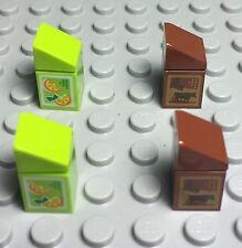 Lego New X2 Chocolate Milk & X2 Orange Juice Carton Pattern / Mini Figures Foods