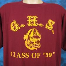 vintage 80s GHS GEORGETOWN BULLDOGS CLASS OF 1959 T-Shirt L/XL football hs thin