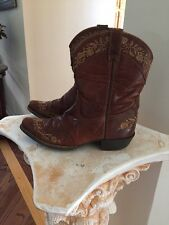 WOMEN'S VTG  ARIAT 4LR BROWN LEATHER  Flower EMBROIDERED COWBOY BOOTS US  5.5