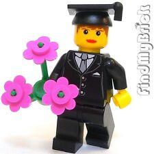 M866 Lego Custom Graduate Girl Minifigure with Flowers NEW