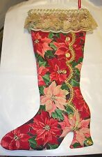 VINTAGE HANDMADE VICTORIAN SHOE BOOT CHRISTMAS STOCKING HOME DECOR WESTERN GOLD