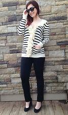 Ralph Lauren Sport  Womens Cotton Linen Ruffled Cream Black Cardigan Sz XL