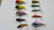 LOTTO DI 10  ESCHE ARTIFICIALI MINNOW 5-7 cm RATTLING no rapala TROTA BASS