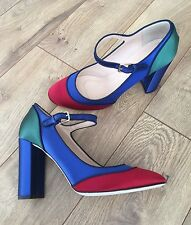 JCREW Mary Jane Pumps In Colorblock Satin $378 11 f4876 midnight ocean SOLDOUT!