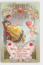 ANTIQUE VINTAGE VALENTINE'S DAY POSTCARD WOMAN GIRL BUTTERFLY CUPID SEWING HEART