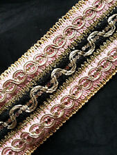 "2.1/2"" (65mm) Wide Gorgeous Woven Trim/Lace- Dual Colour - Braid/Gimp - 1Metre"