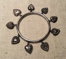 Antique 1940s Sterling Silver Puffy Heart 9 Charm Bangle Bracelet