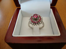 14K WHITE GOLD ANTIQUE NATURAL RUBY and DIAMONDS RING SIZE 6