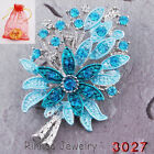 New Fashion Jewelry Tree Leaf Flower With Crystal Brooch Pin Silver Bonquet Gift