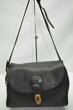 Dooney And Bourke USA Vintage All Weather Leather Black Medium Flap Bag