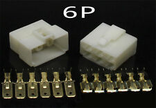10 Kits 6 WAY PIN 6.3MM ELECTRICAL MULTI PLUG CONNECTOR TERMINAL BLOCK