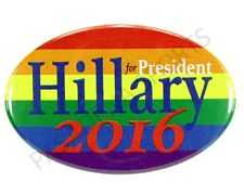 2016 HILLARY for PRESIDENT OVAL CAMPAIGN MAGNET BUTTON GAY LESBIAN RAINBOW LGBT