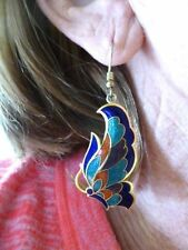 Authentic Vintage Cloisonne Peacock Colored Butterfly Dangle Earrings Pierced