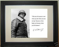 "George S. Patton WWII  "" test of success"" Quote Framed Photo Picture #b4"