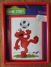 nos JANLYNN 68-18 sesame street ELMO soccer counted cross stitch kit w frame oop