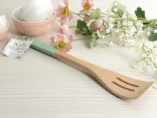 KATIE ALICE Cottage Flower BEECH WOOD SLOTTED SPATULA with Silicone Handle