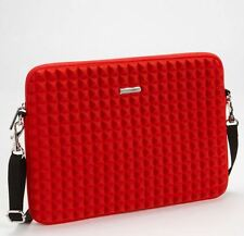 "Rebecca Minkoff 13"" Laptop Case Red Neoprene Pyramid Stud NWT shoulder strap"